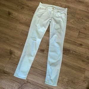 7 For All Mankind- Distressed Jeans- Mint Green